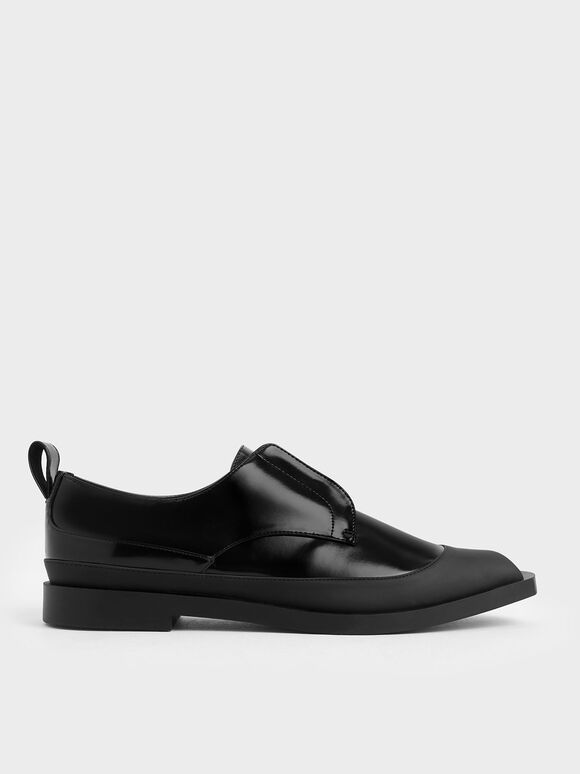 Glossy Finish Loafers, Black, hi-res