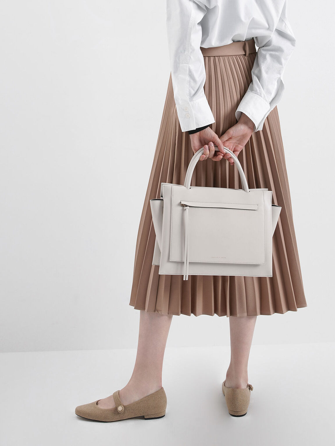 Large Trapeze Handbag, Cream, hi-res