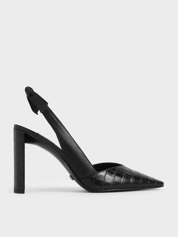 Leather Croc-Effect Bow-Slingback Heels, Black, hi-res