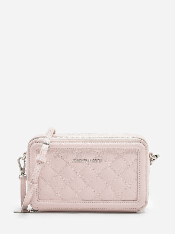 Quilted Long Wallet, Pink, hi-res