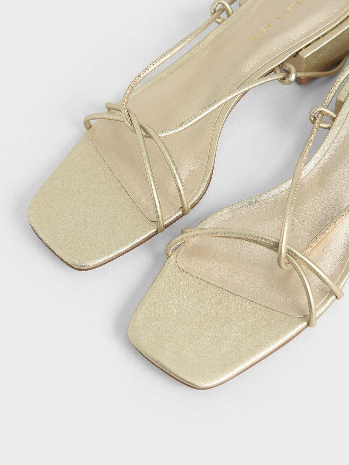 細帶扭結涼鞋, 金色, hi-res
