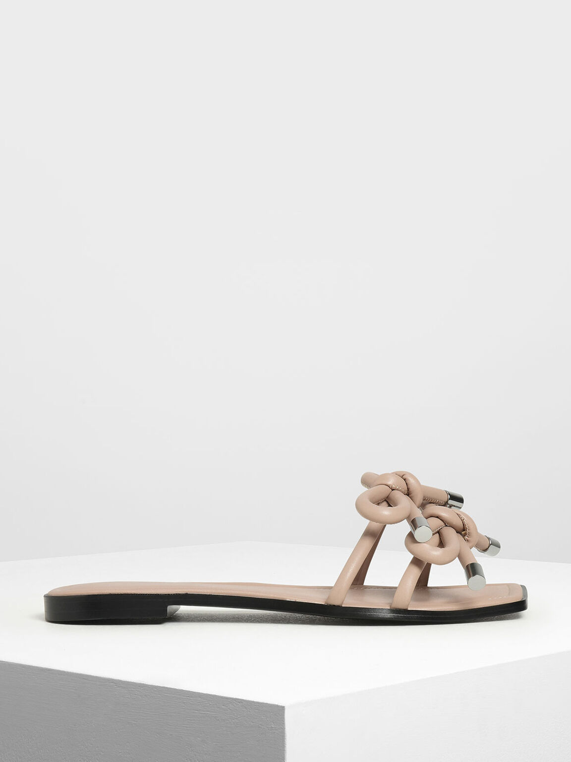 Double Bow Slide Sandals, Nude, hi-res