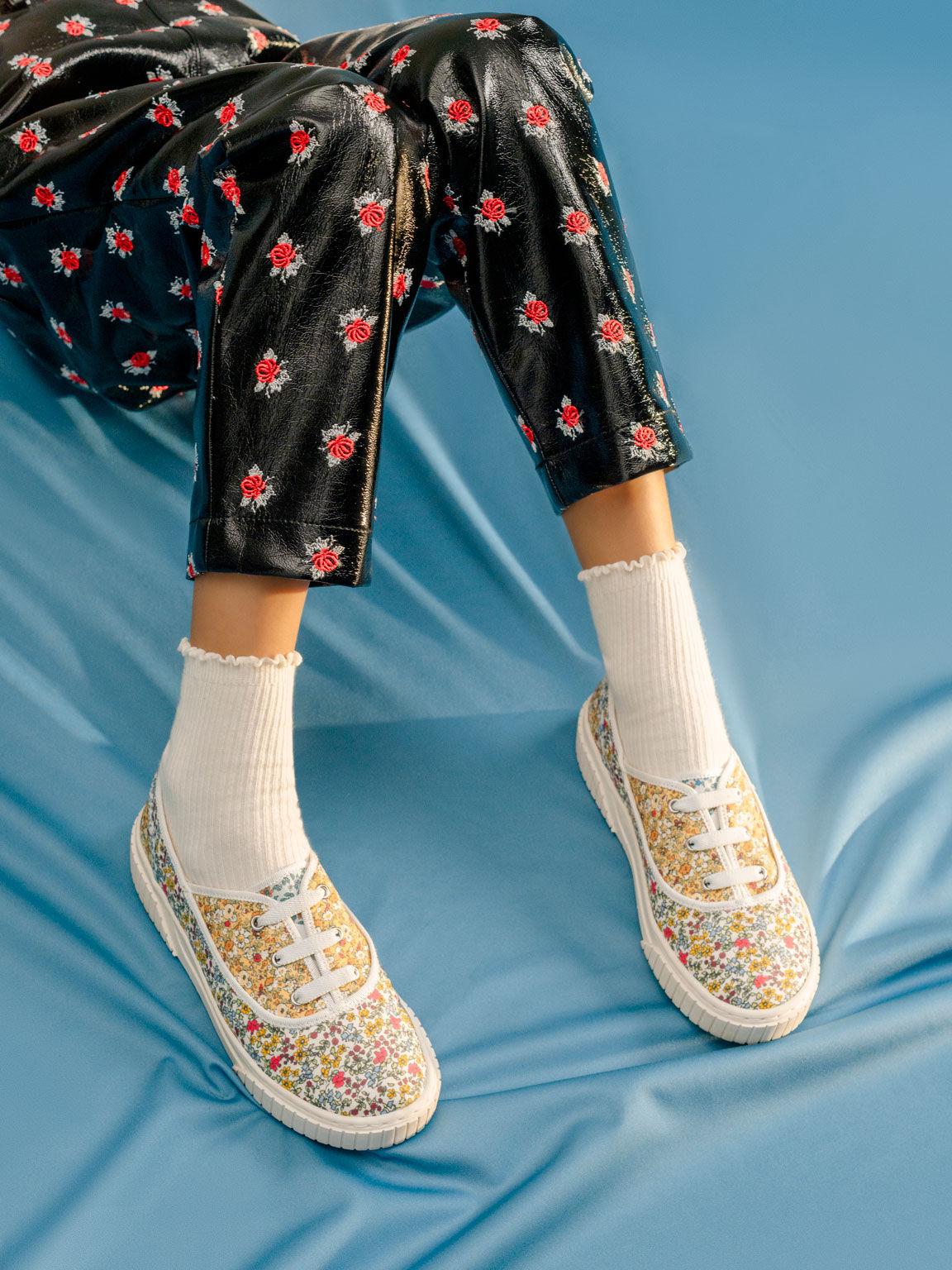 Girls' Printed Cotton Sneakers, Multi, hi-res