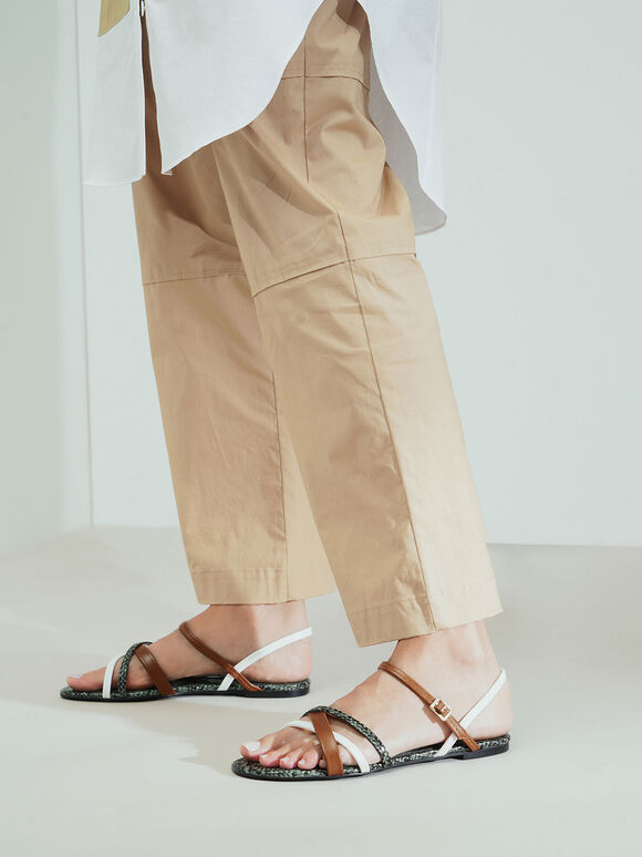 交叉帶平底涼鞋, 混色, hi-res