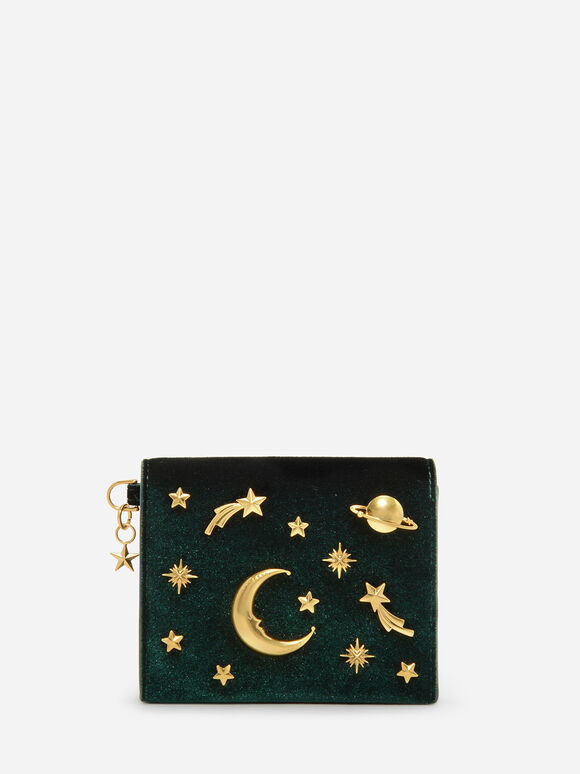Galaxy Embellished Cardholder, Green, hi-res