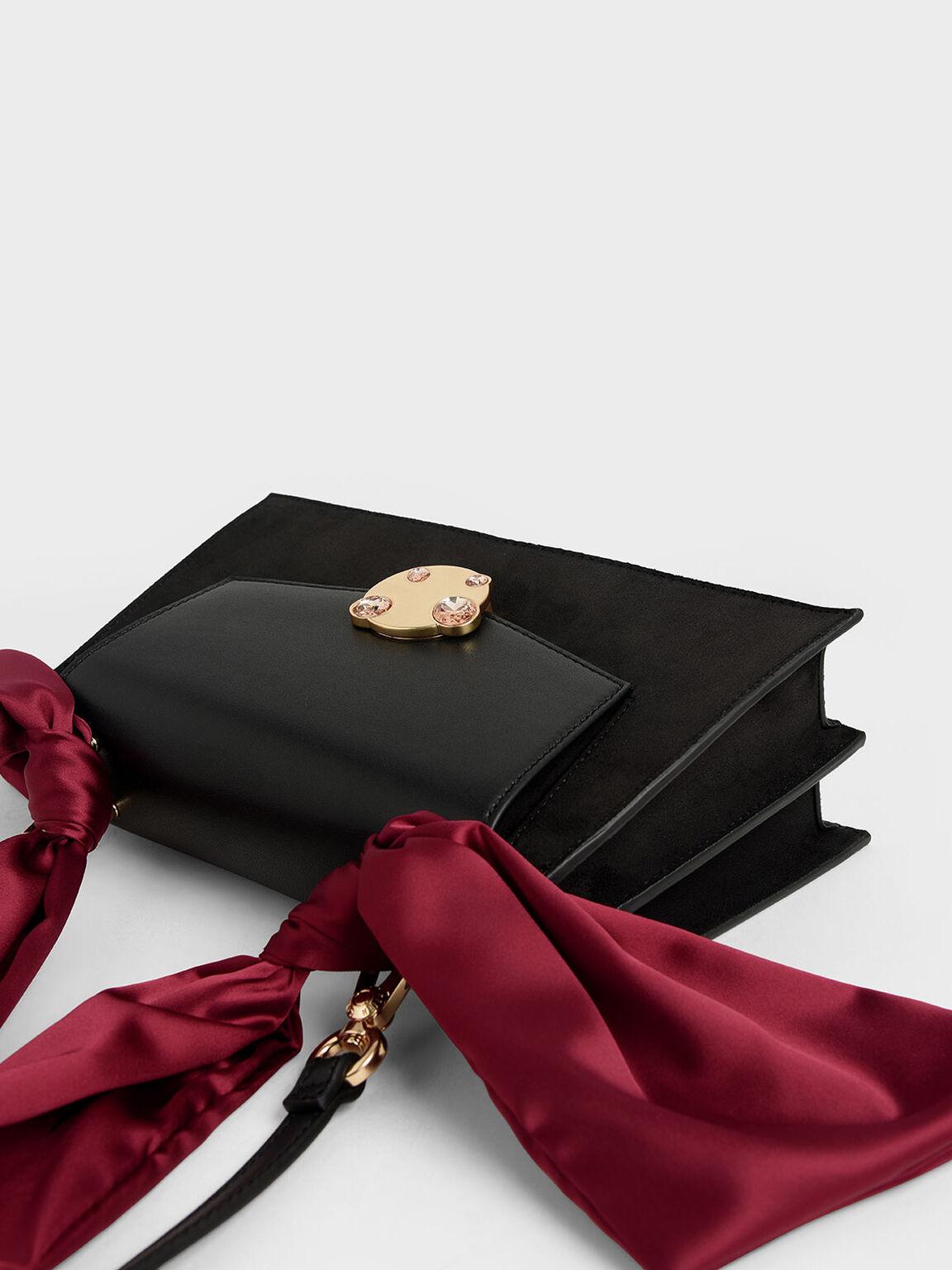 Satin Top Handle Shoulder Bag, Black, hi-res