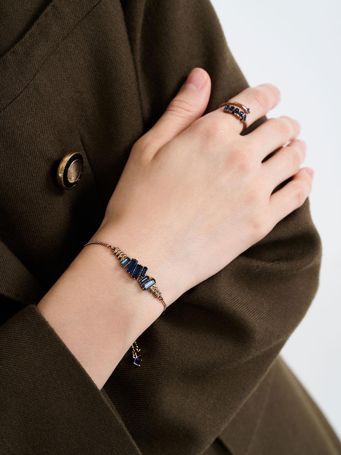 Swarovski® Crystal Embellished Wrap Ring, Navy, hi-res
