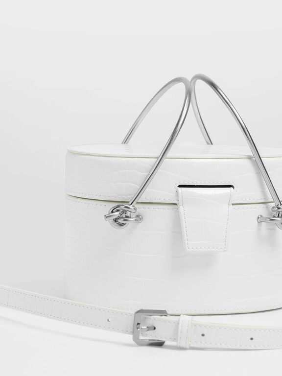 Metal Top Handle Croc-Effect Round Bag, White