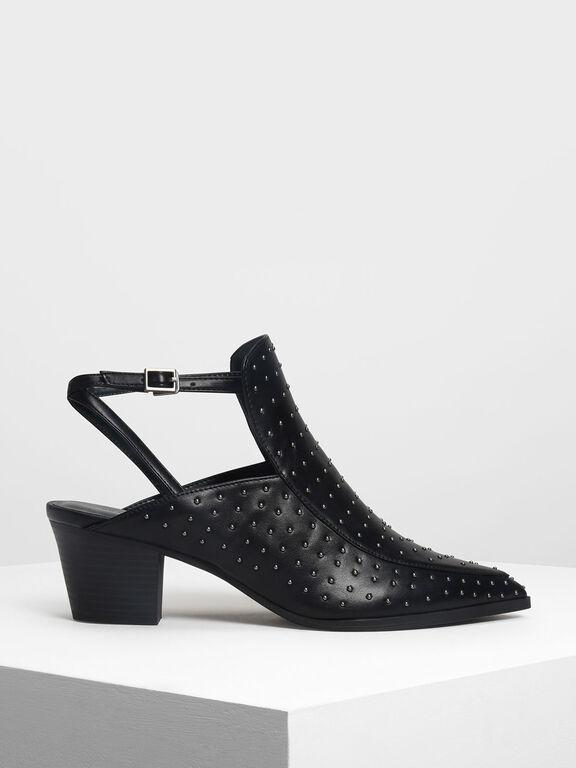 Micro Stud Embellished Heels, Black