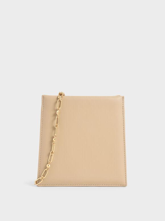 Leather Chain Strap Crossbody Bag, Beige, hi-res