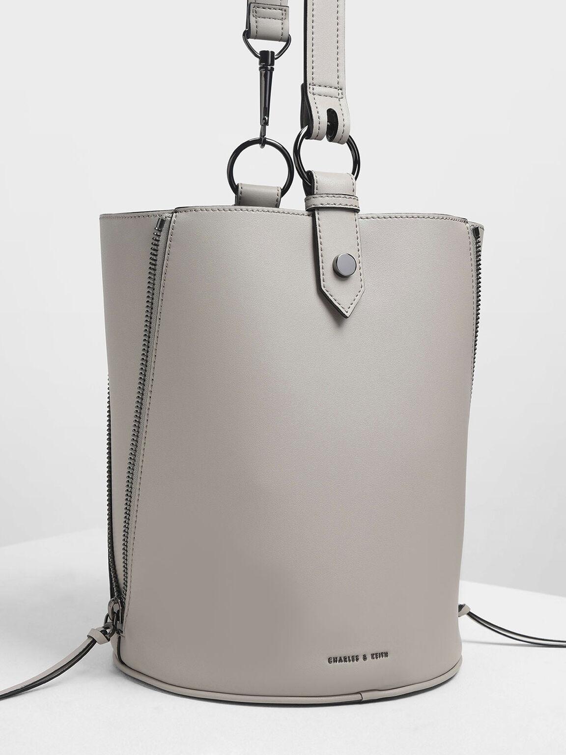 Ring Zip Pocket Geometric Bucket Bag, Grey, hi-res