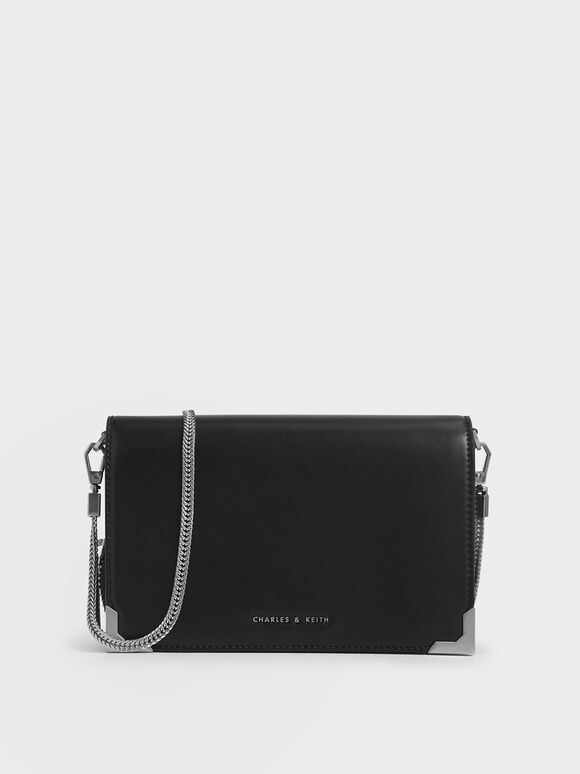 Metallic Edge Crossbody Bag, Black, hi-res