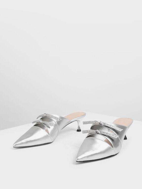 Bow Embellished Metallic Kitten Heel Mules, Silver, hi-res