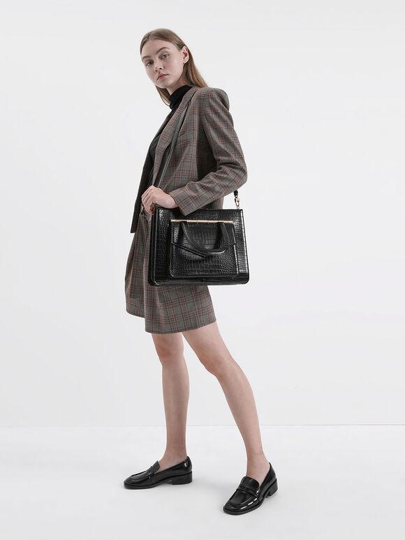 Croc-Effect Structured Tote Bag, Black, hi-res