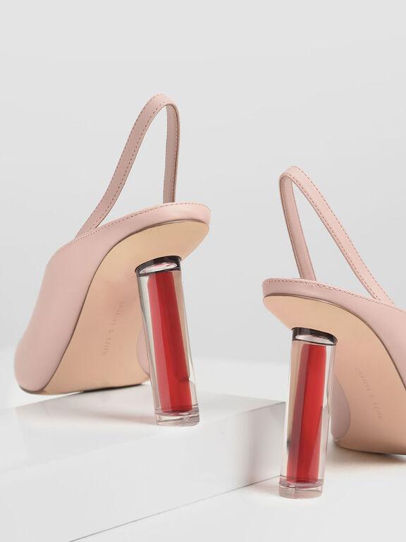 V-Cut Sculptural Heel Slingbacks, Nude