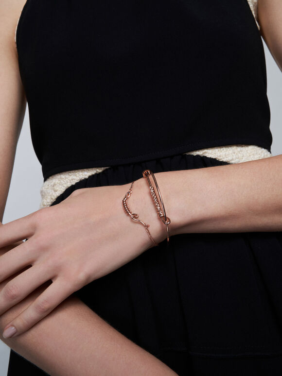 Open Cuff Twist Bracelet, Rose Gold, hi-res