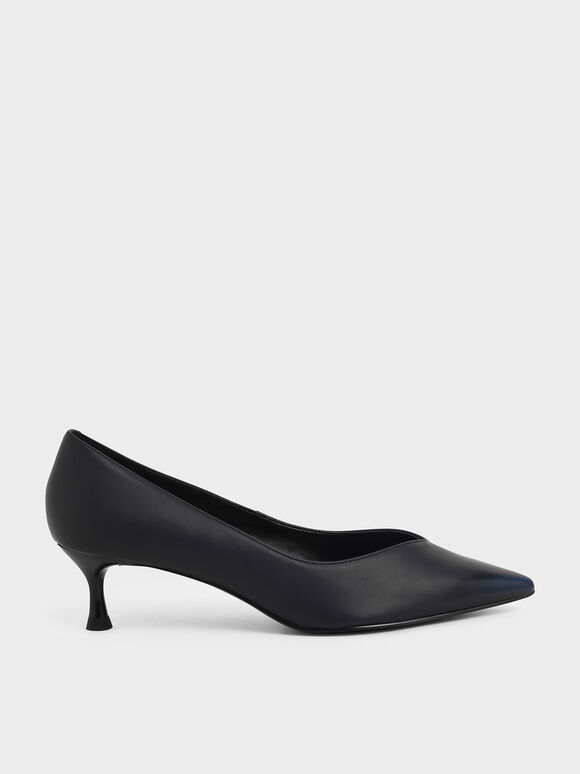 Brushed Effect Sculptural Heel Pumps, Black, hi-res