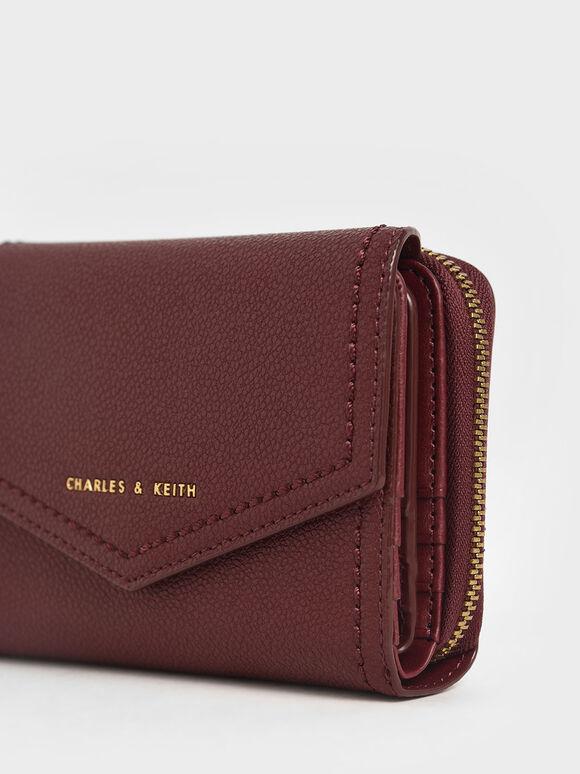 Envelope Short Wallet, Burgundy, hi-res