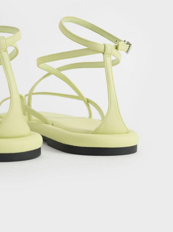 Padded Toe Loop Sandals, Yellow, hi-res
