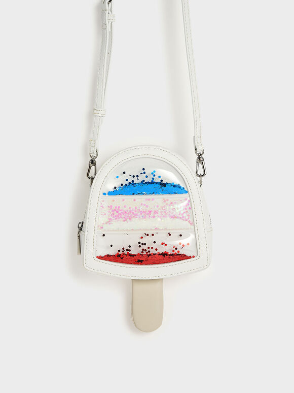 Girls' Ice Cream Popsicle Crossbody Bag, White, hi-res