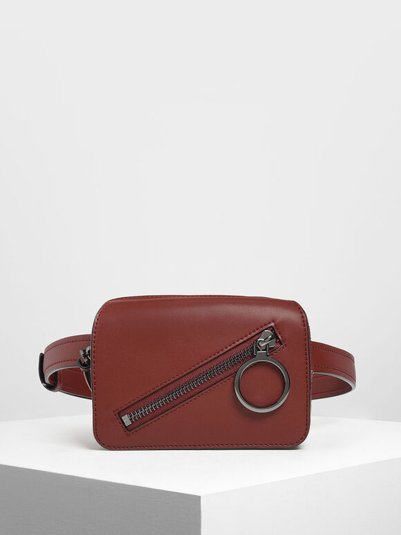 Ring Zip Pocket Two-Way Belt Bag, Burgundy, hi-res
