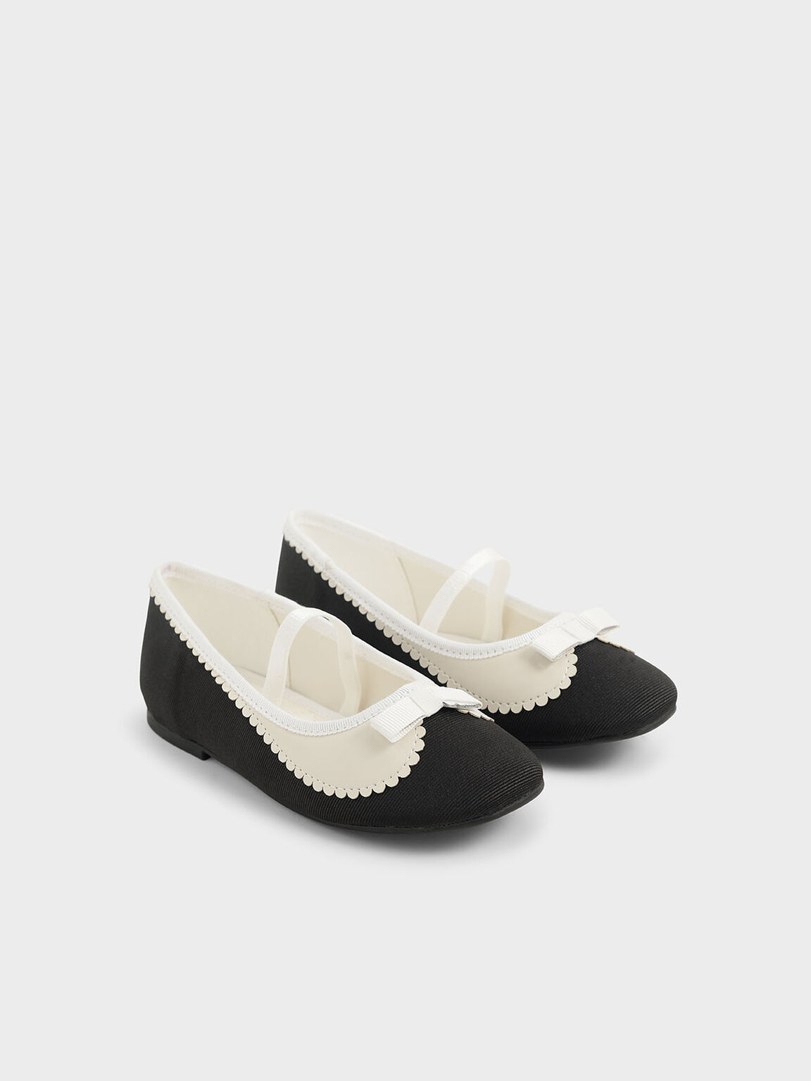 Girls' Grosgrain Scallop Trim Ballerina Flats, Black, hi-res