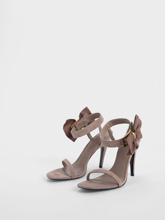 Oversized Bow Open Toe Heeled Sandals, Nude