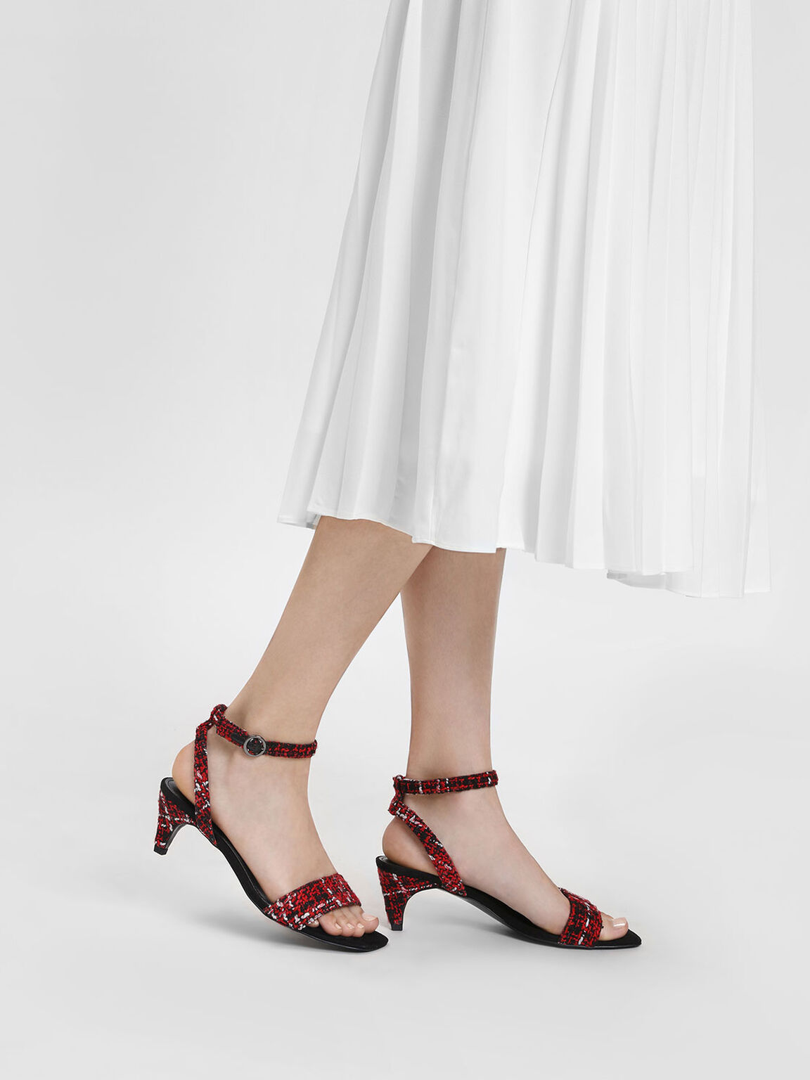 Classic Heeled Sandals, Red, hi-res