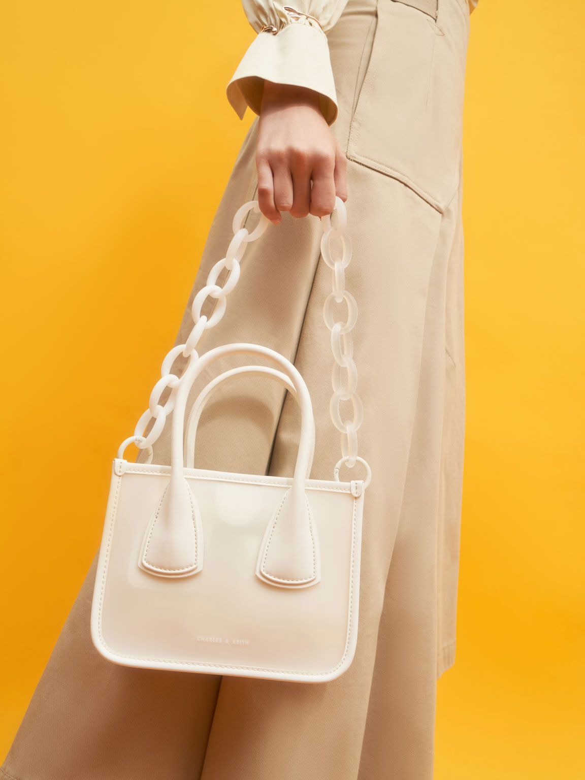 Chain Link Double Handle Bag, White, hi-res