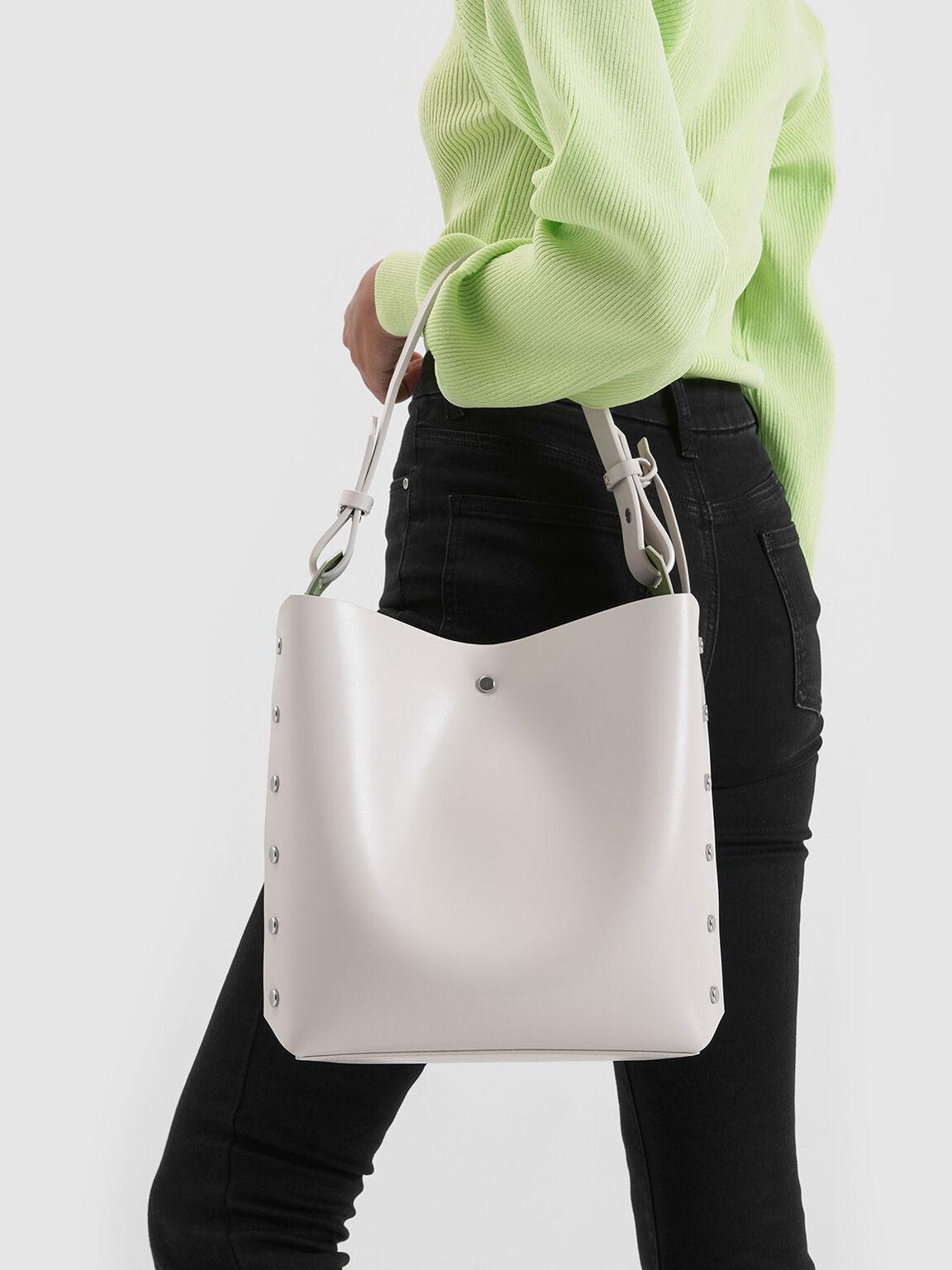 Reversible Studded Trapeze Shoulder Bag, Cream, hi-res
