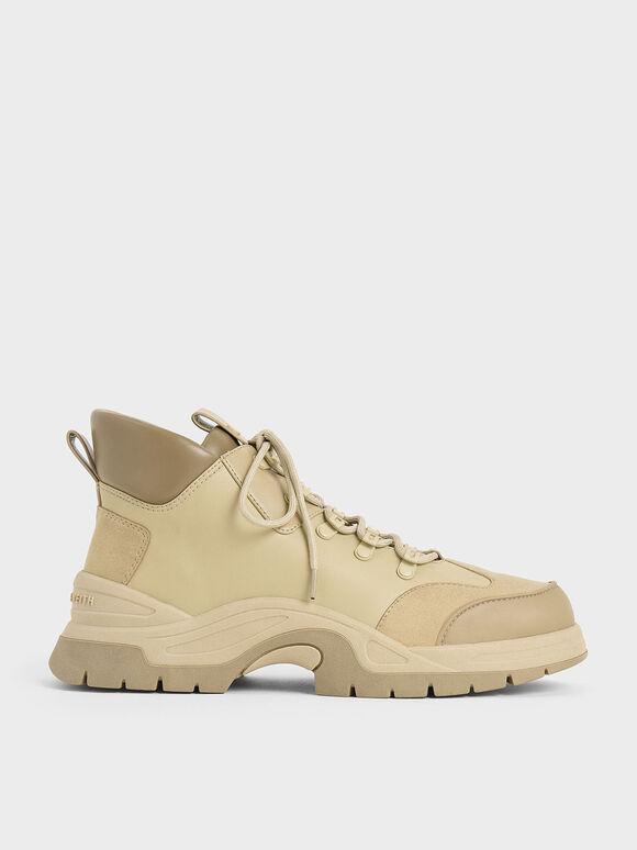 Textured High Top Sneakers, Beige, hi-res