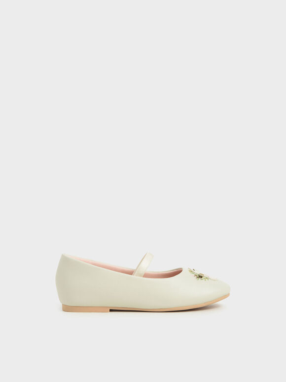 兒童小牛貼瑪莉珍鞋, 石灰白, hi-res