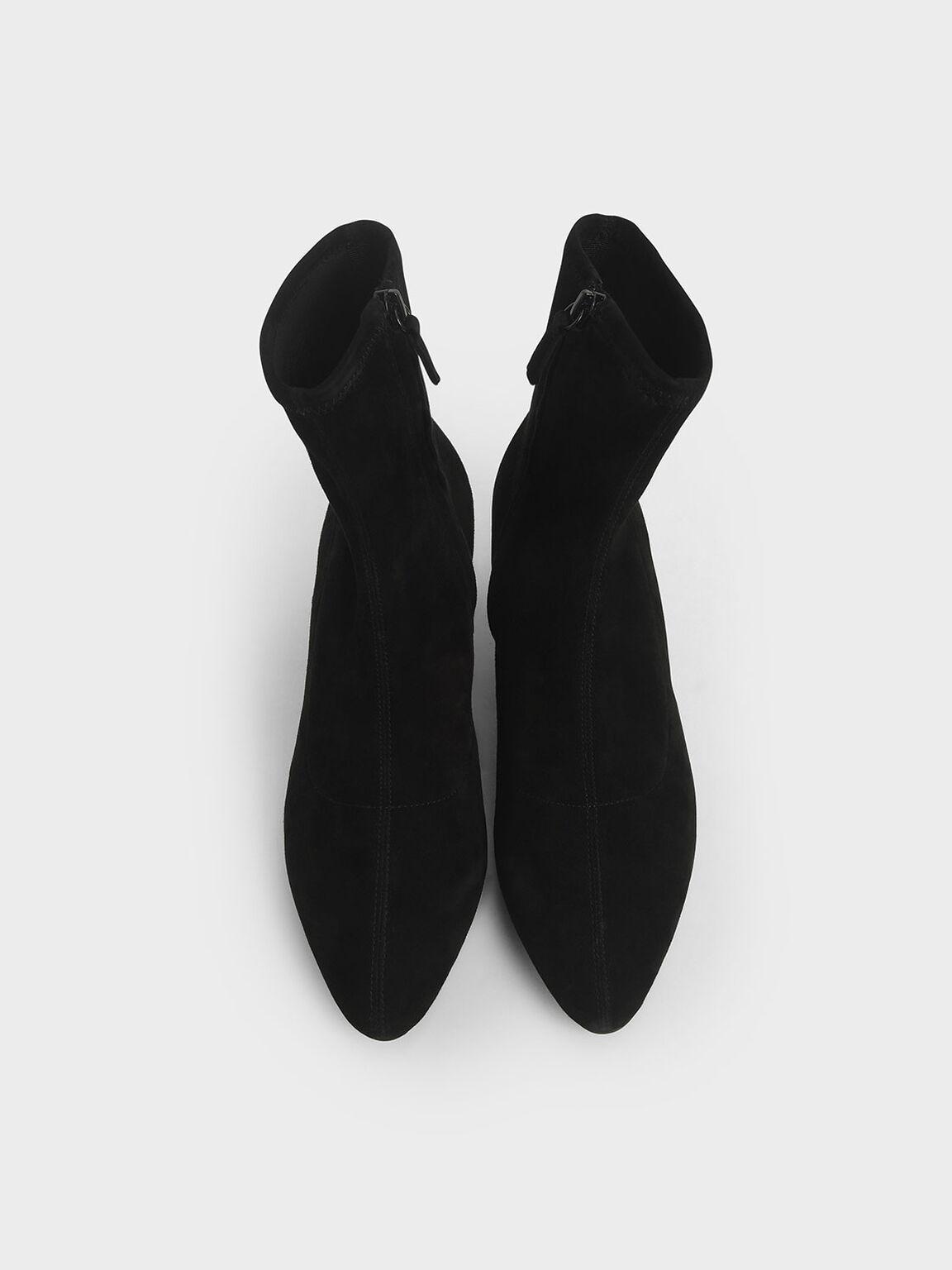 Sculptural Heel Ankle Boots (Kid Suede), Black Textured, hi-res
