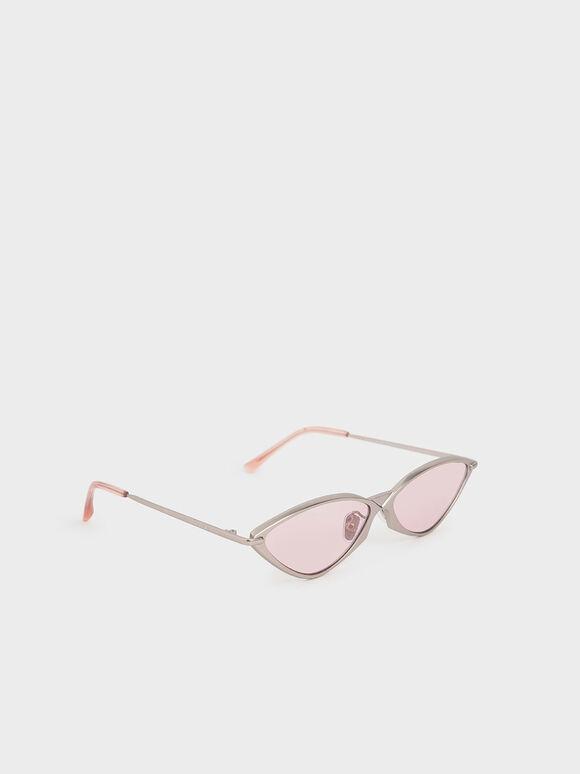 金屬框貓眼墨鏡, 粉紅色, hi-res