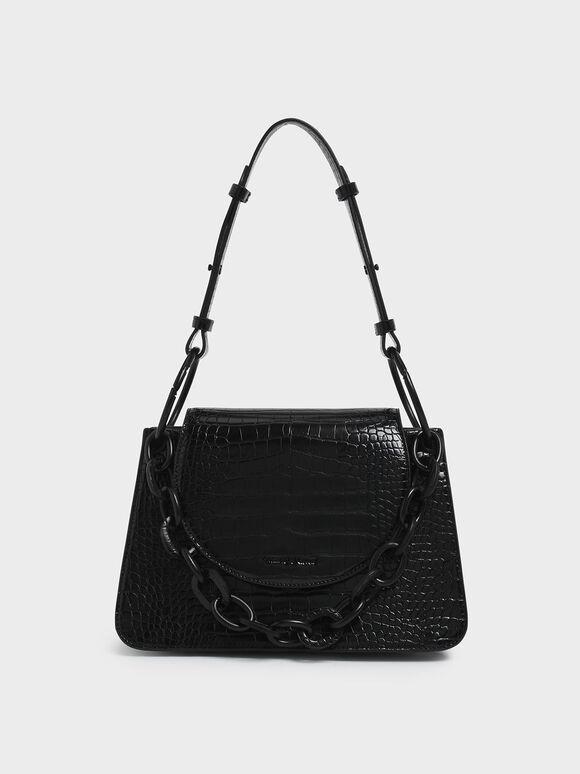 Croc-Effect Chunky Chain Link Shoulder Bag, Black, hi-res