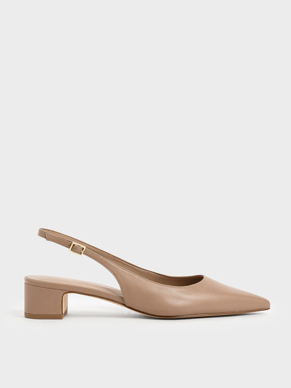 Pointed Toe Slingback Heels, Nude