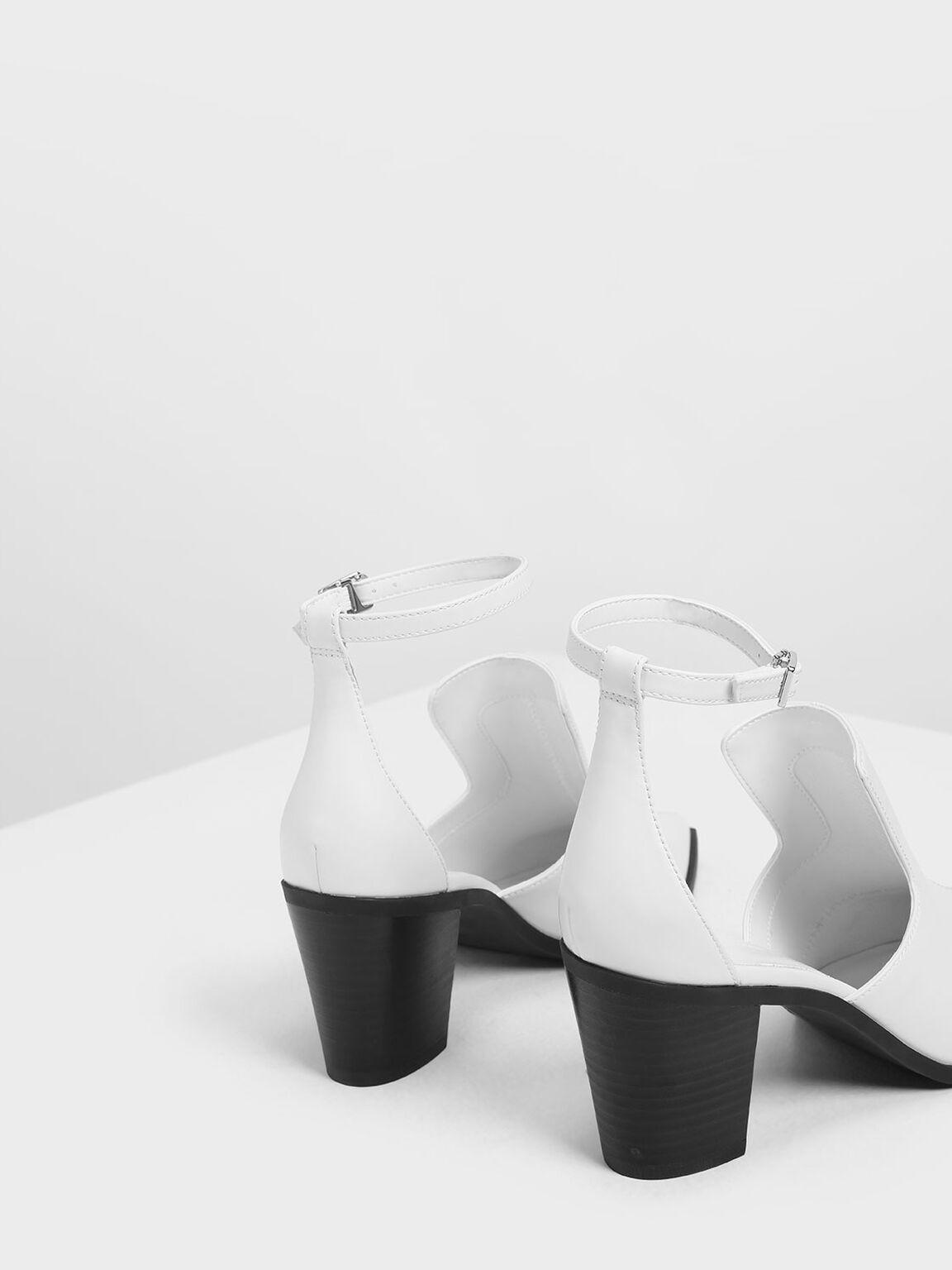 繞踝鏤空短靴, 白色, hi-res