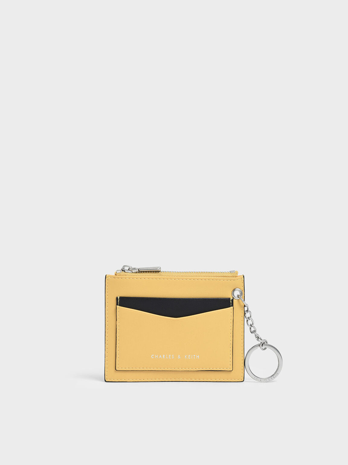 Two-Tone Zip Pocket Card Holder, Yellow, hi-res