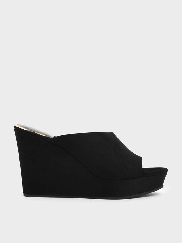 Asymmetric Textured Platform Wedges, Black, hi-res