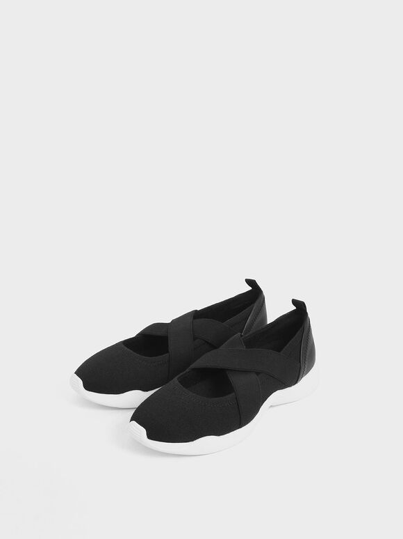 Criss-Cross Slip-On Sneakers, Black, hi-res