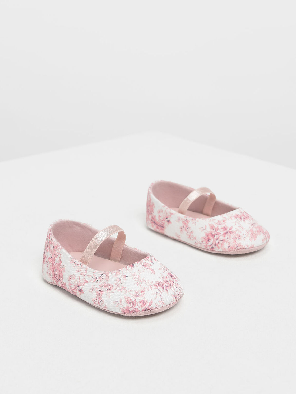 Baby Girls' Floral Fabric Mary Janes, Pink, hi-res