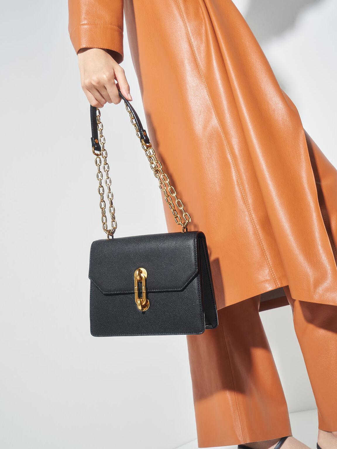 Double Chain Strap Turn-Lock Bag, Black, hi-res