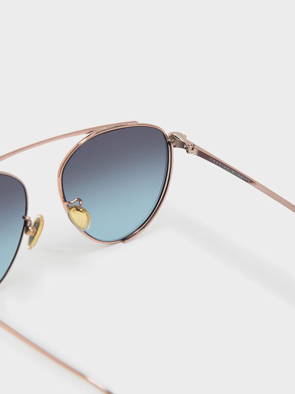 Wire Frame Aviators, Rose Gold