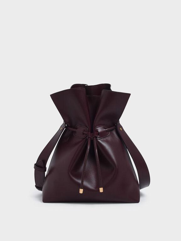Drawstring Bucket Bag, Prune