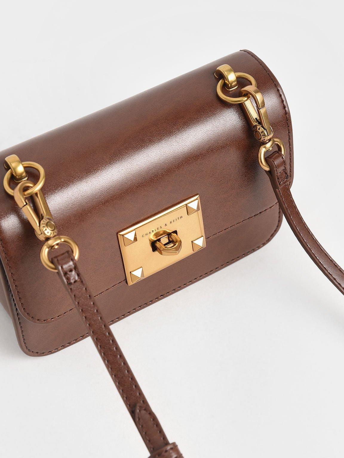Metallic Turn-Lock Bag, Chocolate, hi-res