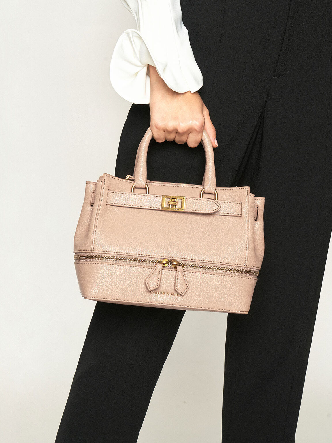 Two-Way Zip Tote, Beige, hi-res