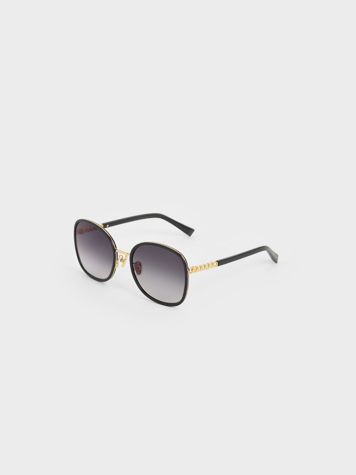 Braided Temple Butterfly Sunglasses, Black, hi-res
