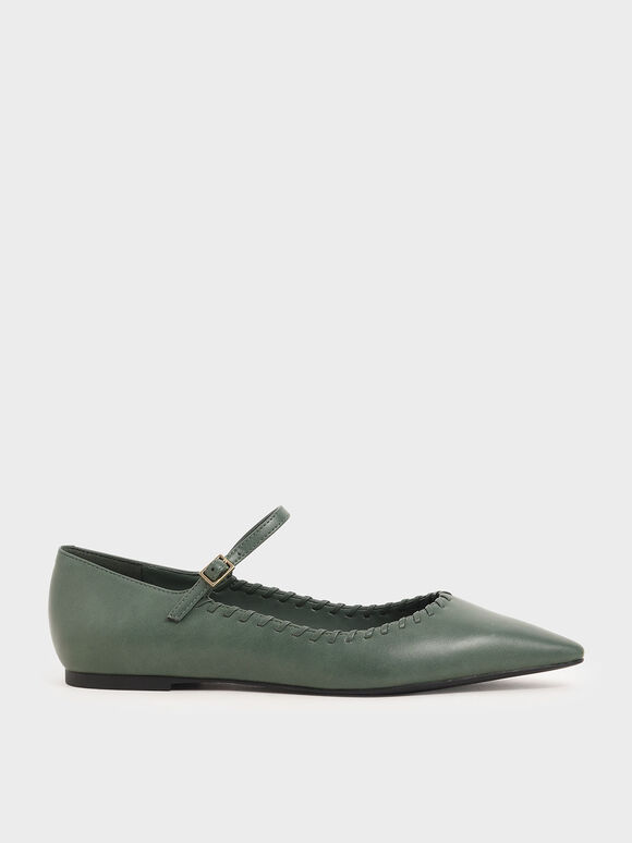 Whipstitch Trim Mary Jane Flats, Green, hi-res