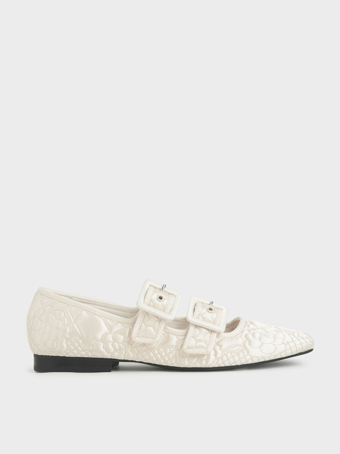 Cecilie Bahnsen X CHARLES & KEITH: Quilted Recycled Satin Dhalia Mary Janes, Cream, hi-res