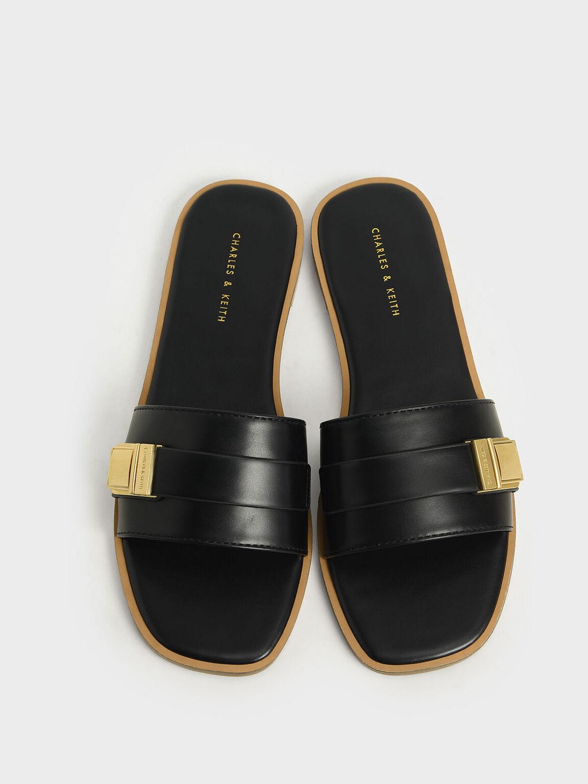金屬方扣拖鞋, 黑色, hi-res